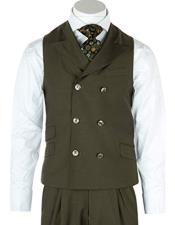 Mens Olive Wool Mens Double Dreasted