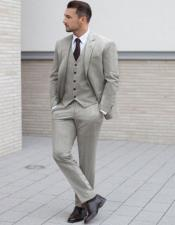 Light Gray Two Cuff Buttons Pocket on Trousers