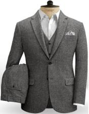 Gray Notch Lapel Two Button Jacket Style Two Welted