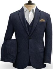 Blue Notch Lapel Back Pockets on Trousers