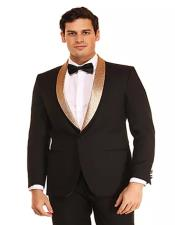 MensBlack~GoldOneButtonFashionProm-Wedding