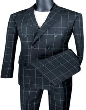 Breasted Suit Modern Fit Black Windowpane Vinci MDW-1