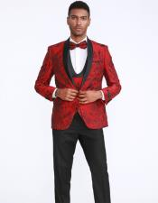Red and Black Prom Wedding Tuxedo