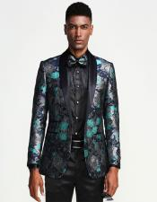 Blue Turquoise Color Tuxedo Jacket Blazer Sportcoat