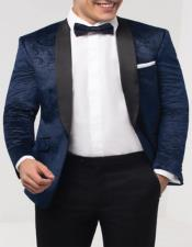Navy Blue Paisley Velvet Fabric Tuxedo