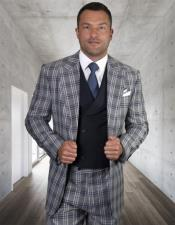 ClassicFitSuitMensPlaid-CheckeredSuitNavySide