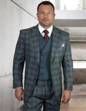 Plaid - Checkered Suit Jade Side Vents Jacket Flap