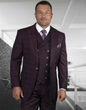 Plaid - Checkered Suit Burgundy Side Vents Jacket Flap
