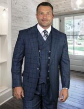 MensPlaid-CheckeredSuitIndigoSuper150s100%Wool