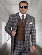 Plaid - Checkered Suit Copper Single Breasted 2 Button