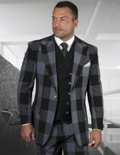 Windowpane Vested 3 Piece Checkered Suit Double Breasted Suit