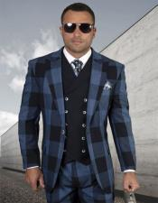 Plaid - Checkered Suit Navy Double Breasted Vest Regular