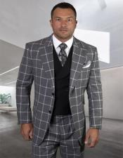 MensPlaid-CheckeredSuitBlackSideVentsJacketFlap