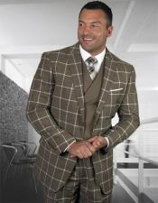 Plaid - Checkered Suit Bronze Single Breasted 2 Button