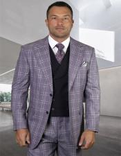 Plaid - Checkered Suit Eggplant 8 Button Vest Vest