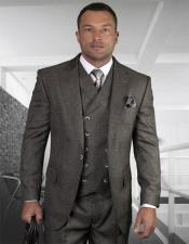 Plaid - Checkered Suit Charcoal Super 150s 100% Wool