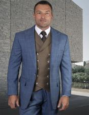 Plaid - Checkered Suit  French Blue Single Breasted