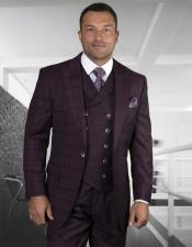 - Checkered Suit Burgundy