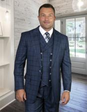 Plaid - Checkered Suit Indigo Super 150s 100% Wool
