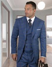 Plaid - Checkered Suit Sapphire Super 150s 100% Wool