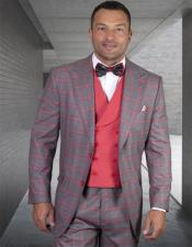 MensPlaid-CheckeredSuitWineSuper150s100%Wool