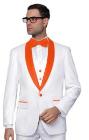 ~ Prom White Tuxedo with Color Lapel Vested 3