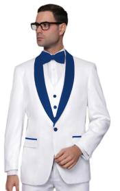 ~ Prom White Tuxedo With Navy Blue Color Lapel