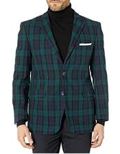 Black Watch Green and Blue Plaid Mini Checker Blazer