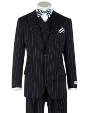 Mens Gangster Bold Black Chalk Pinstripe with Double Breasted