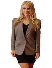 Button Notch Lapel women Blazer In Grey