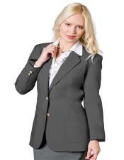 Button Notch Lapel  Grey Women Blazer