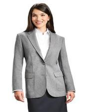 Two Button Grey Notch Lapel Women Blazer