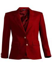 Red Notch Lapel Women