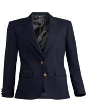 Button Solid Pattern Navy Notch Lapel Women Blazer