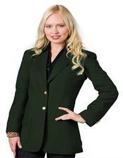 Button Hunter Green Solid Pattern Notch Lapel Women Blazer