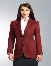 Burgundy Two Button Solid Pattern Notch