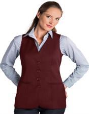 Button Solid Pattern Burgundy Notch Lapel Women Vest Sleeveless