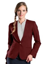 Burgundy One Button Solid Pattern Notch