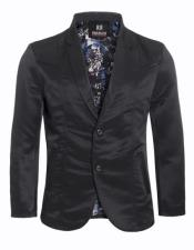 Slim Fit Western Blazer Sport Coat Black
