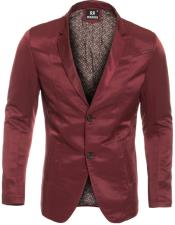 Slim Fit Western Blazer Sport Coat Burgundy