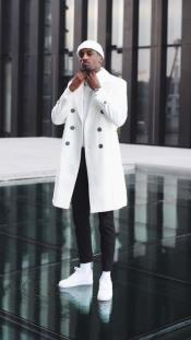 White Double Breasted Overcoat Cashmere Fabric