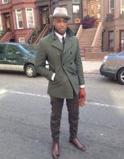 Mens Olive Green Peacoat Double Breasted