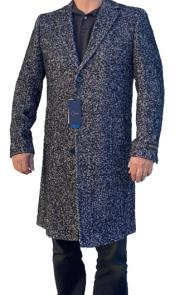 Black and Grey Herringbone ~ Tweed Overcoat Three Quarter