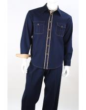 2 Piece Long Sleeve Denim Walking Suit - Light