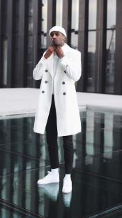 Cashmere & Wool White Double Breasted Overcoat ~ Car