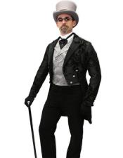 Tailcoat Black Paisley Fabric Tail Tuxedo Wedding Tux Vested