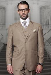 Single Breasted Notch Lapel Brown Suit