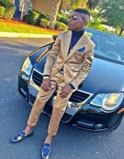 Gold Two Button Suit for Prom or Wedding