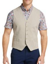 Button Besom pocket mens Slim Fit Seersucker Vest In