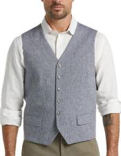 Button Flap pocket mens Blue Linen Suit Separates Vest